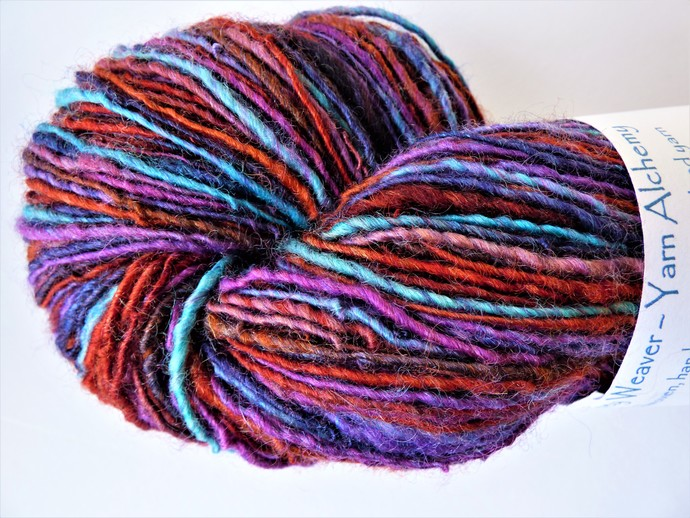 Handspun Yarn – 70/30% Blue Faced Leicester Wool and Tussah Silk – 101 grams –