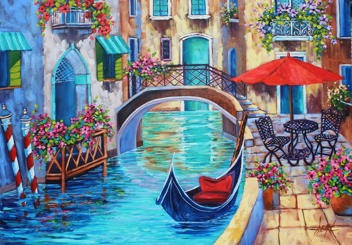 Original Venice Oil Painting VENICIAN HOLIDAY Flower art HUGE signed canvas Wall
