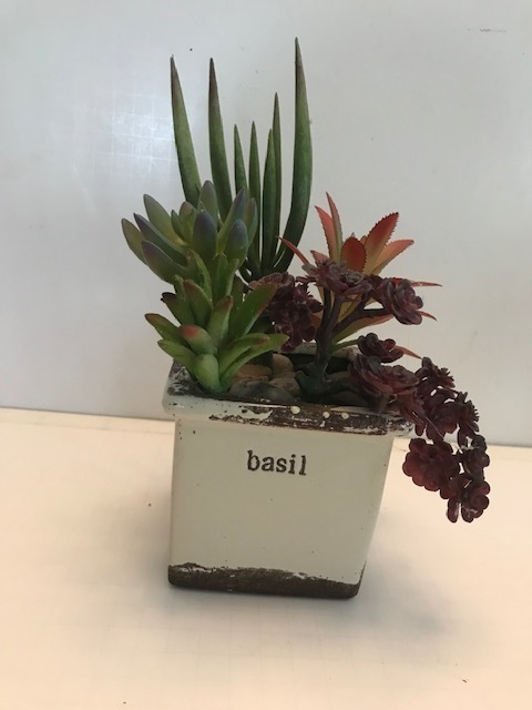 Succulent  natural looking faux plants in ceramic pot great for small spaces and