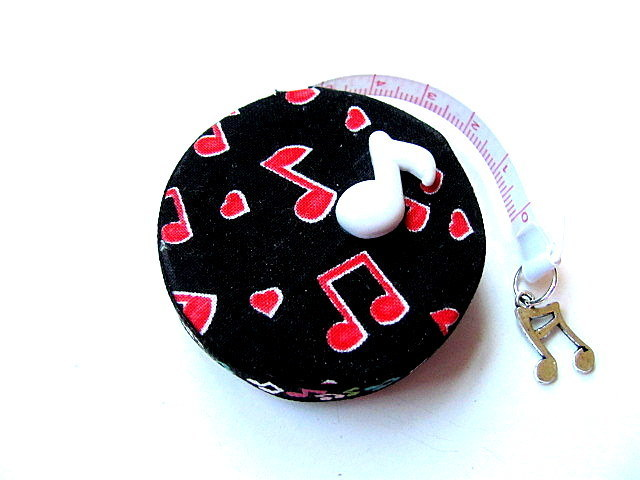 Measuring Tape Red Music Notes Retractable Tape Measure