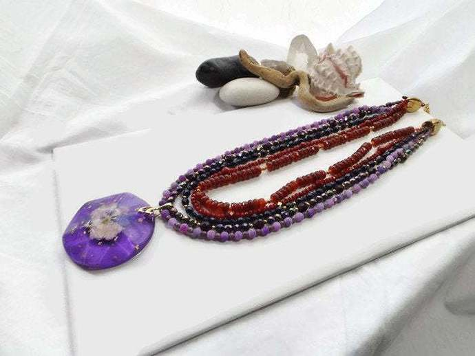 Beaded Boho Statement Multi-Strand Necklace with Purple Round Pendant with