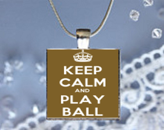 Pendant Necklace Keep Calm and Play Ball