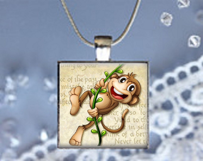 Pendant Necklace Monkey Swinging from a Vine