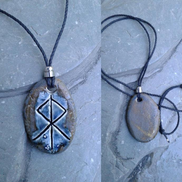 Thor Necklace Blue Bronze Norse Runestone Pendant Ceramic Viking Amulet God of