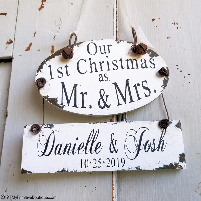 Our 1st Christmas Ornament | Personalized Mr and Mrs Ornament | Our First