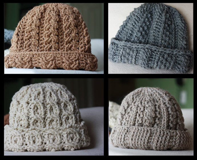 Cable Hats Crochet Pattern - 4 Pattern Collection - Canyon River Hat Collection