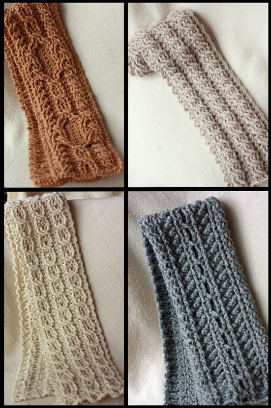 Cable scarves Crochet Pattern - 4 Pattern Collection - Canyon River Cable