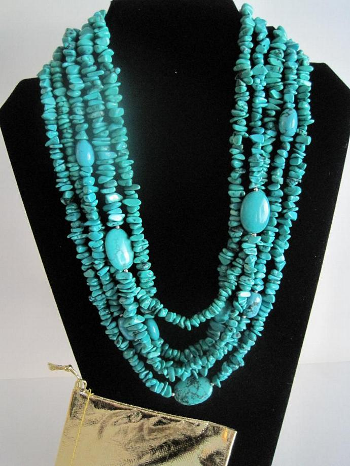 Turquoise Chip and Bead 5 Strand Necklace - Shipps Free