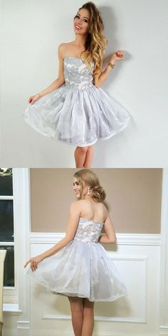 Chic Gray Short Prom Dress A-line Strapless Lace Homecoming Dresses