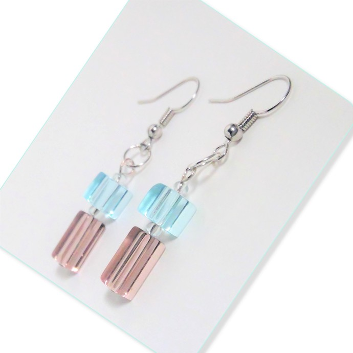 Crystal Cubes and Rectangle Earrings, Violet, Aqua Blue, Drop Earrings Handmade