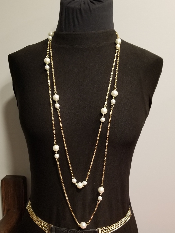 Chanel style necklace, white pearls necklace, long, multi layers necklace,