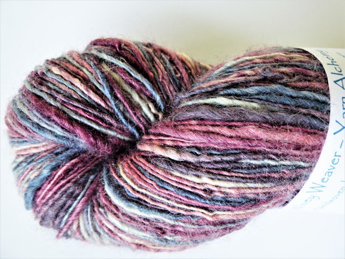 Handspun Yarn – 70/30% Blue Faced Leicester Wool and Tussah Silk – 100 grams –