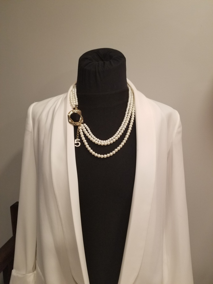 Designer necklace, white pearls necklace, wedding necklace, chanel inspired
