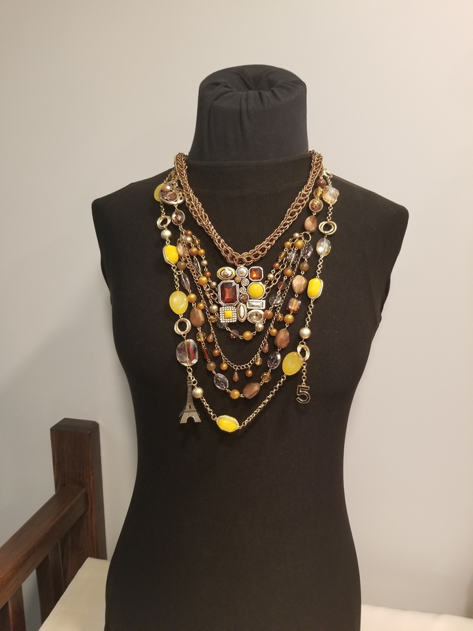 Chanel inspired necklace, number 5 charms, designer jewelry, fashion jewelry,