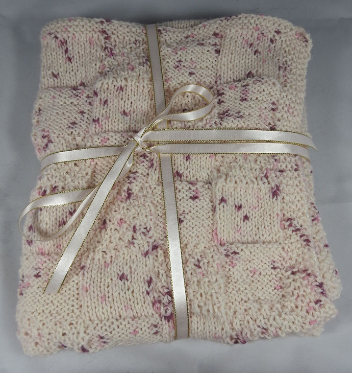 Hand Knitted Pink Random Coloured Patterned Baby Blanket - FREE SHIPPING