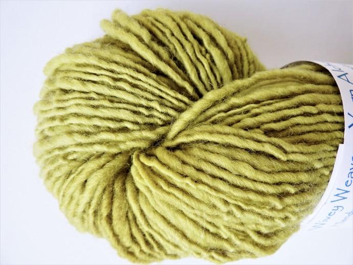 Handspun Yarn Natural / Eco Dyed with Privet – 100% Organic Merino – 50 grams –