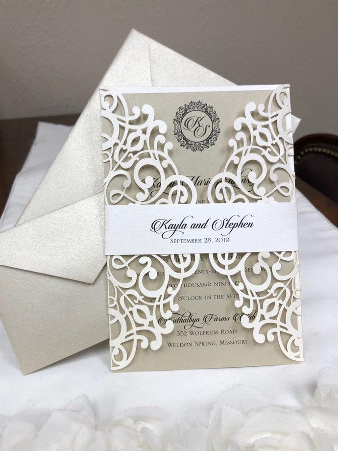 Ivory Gold Laser Cut Wedding Invitations, Elegant Lace Laser Cut Wedding