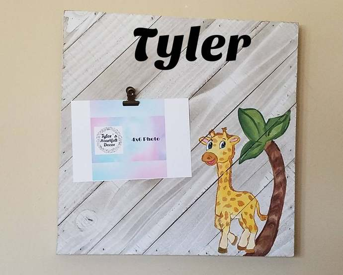 Safari baby room, Custom personalized gift, Giraffe Wooden name sign, Nursery