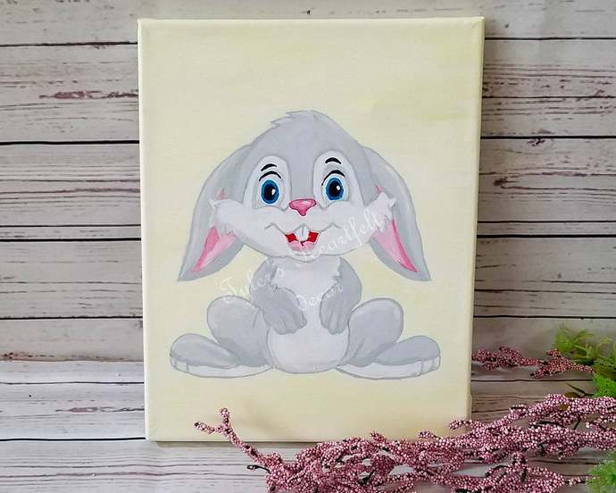 Baby Bunny 8x10 Canvas Painting Nursery Wall Hanging