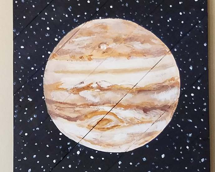 Jupiter painting on wood pallet,Outer Space bedroom,Wood pallet art,Wall hanging