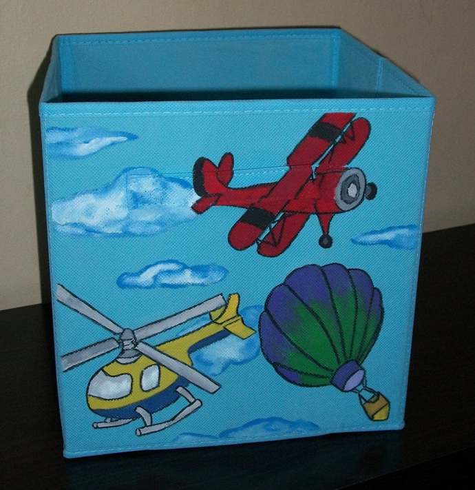 Kids room storage bin, Bedroom and Nursery decor, Helicopter Airplanes Hot Air