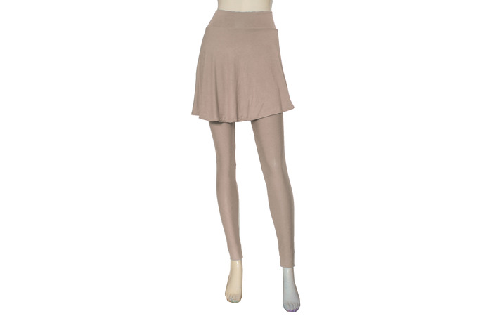 Skirted Leggings Nude Yoga Tights with Skirt Plus Size Pants Beige Joggers High