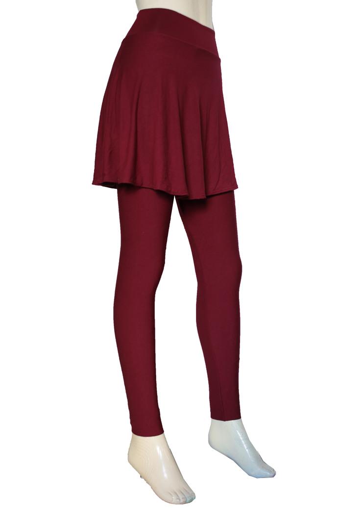Skirted Leggings Burgundy Tights with Skirt Plus Size Yoga Pants High Rise