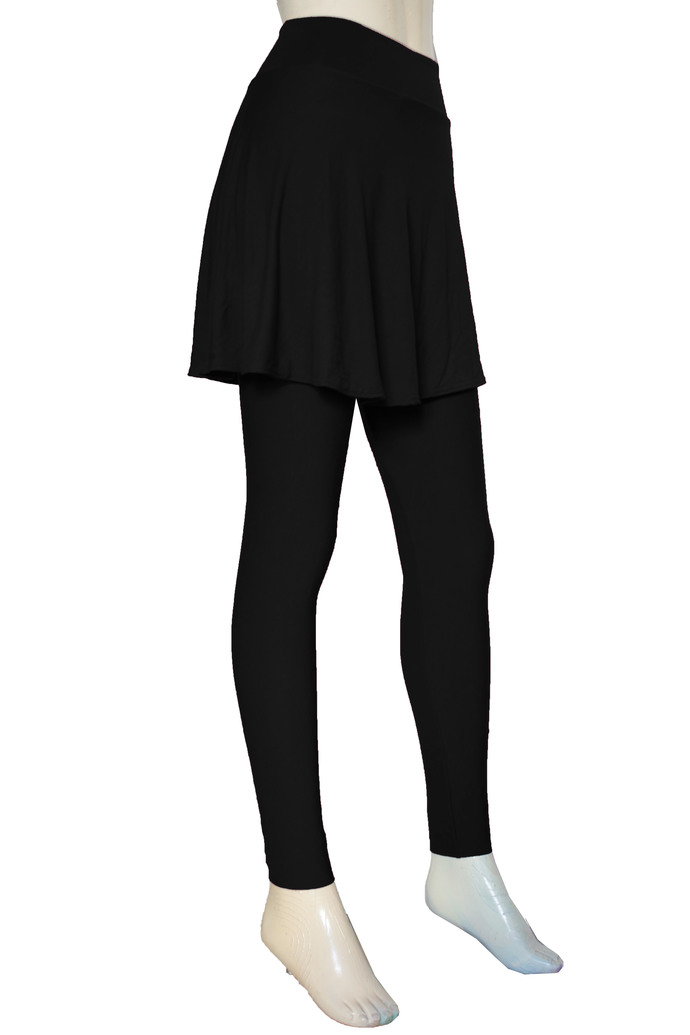 Black Leggings with Skirt Yoga Skirted Pants Plus Size Tights High Waisted