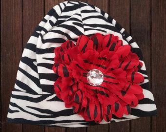 Zebra Hat Animal Print Hat Flower Hat Animal Print Flower Hat Girl Hat Toddler