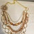 Gemstone necklace, Chanel inspired, crystal,chains gold tone necklace, fashion