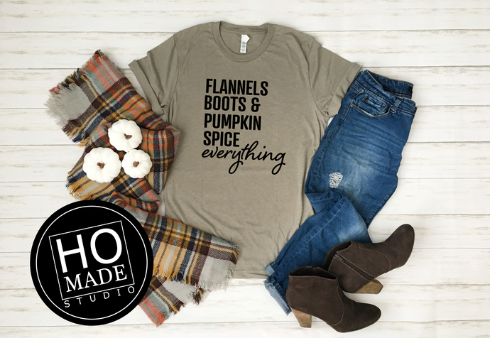 Flannel, Boots & Pumpkin Spice Everything, Fall Shirts
