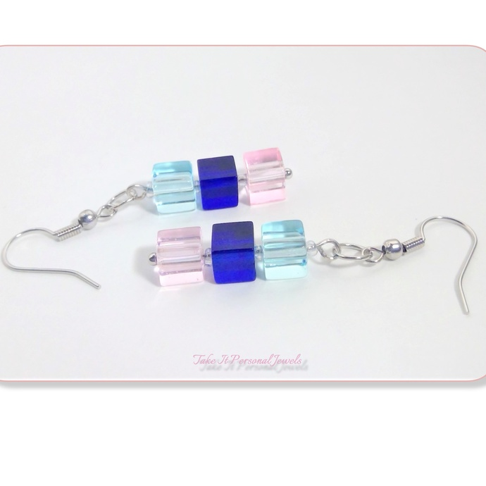 Dangle Cube Earrings Sky Blue,Blue Navy, Rose Pink Handmade Jewelry