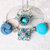 Wineglass or Stemware Charms, All Occasion, with Buttons and Beads in Blue and