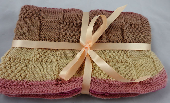 Hand Knitted Soft Patterned Baby Blanket In Pinks And Browns - FREE SHIPPING