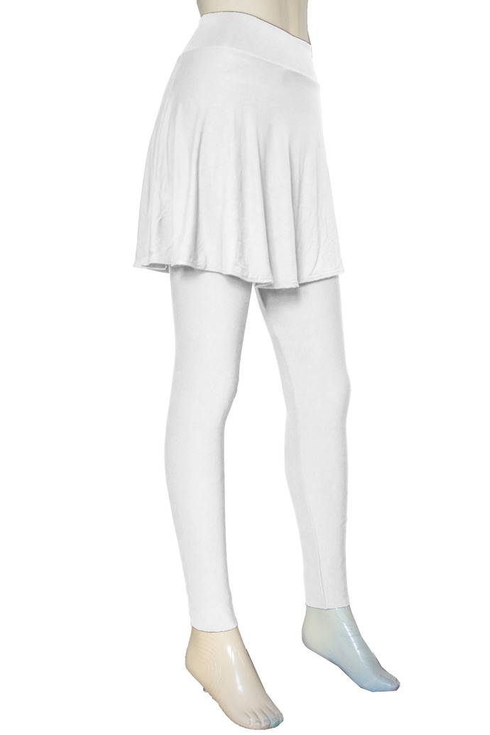White Leggings with Skirt Yoga Skirted Pants Plus Size Tights High Waisted