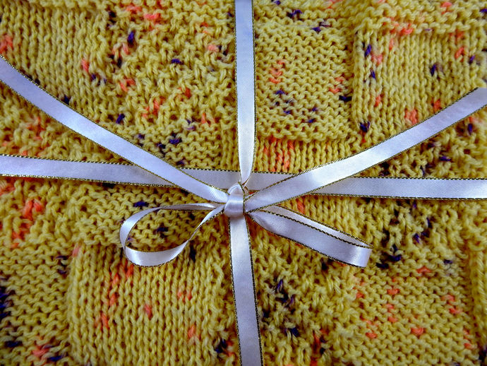 Hand Knitted Yellow Random Coloured Patterned Baby Blanket - FREE SHIPPING