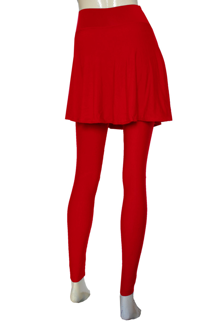 Red Leggings with Skirt Yoga Skirted Pants Plus Size Tights High Rise Leggings