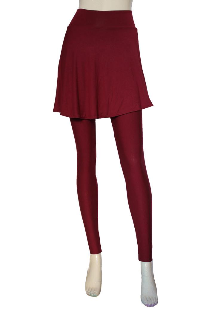 Teal Skirted Leggings Tights with Skirt Yoga Skirted Pants Plus Size Leggings