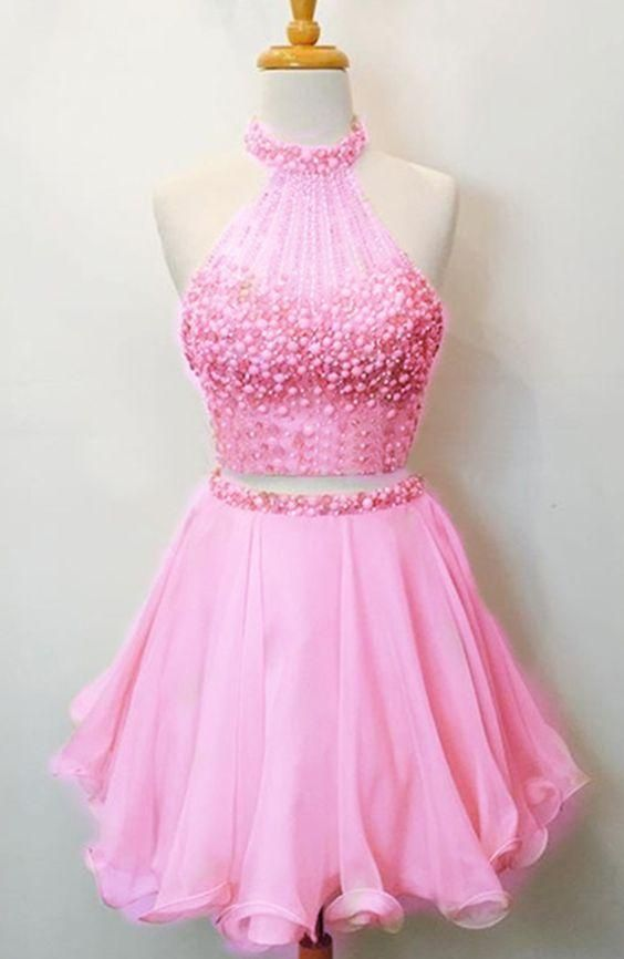 Two Piece Homecoming Dress,Beaded Party Dress,Pink Homecoming Gown