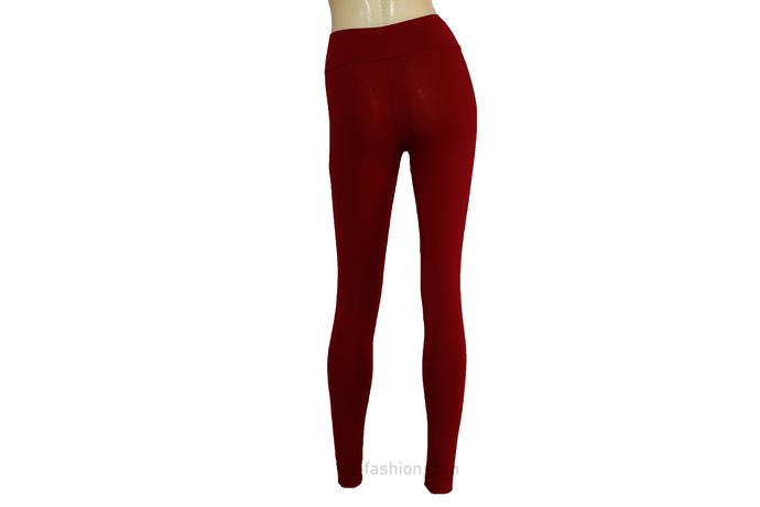 Burgundy Leggings Jersey Ballet Tights Plus Size Yoga Pants High Rise Wine