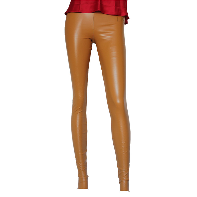 Beige Leather Leggings Sexy Mid Rise Tights Slim Fit Pants Plus Size Leggings