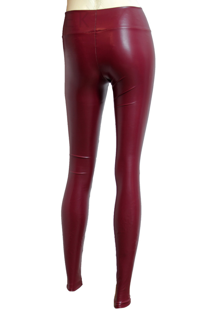 Navy Blue Leather Leggings Sexy Mid Rise Tights Slim Fit Pants Plus Size