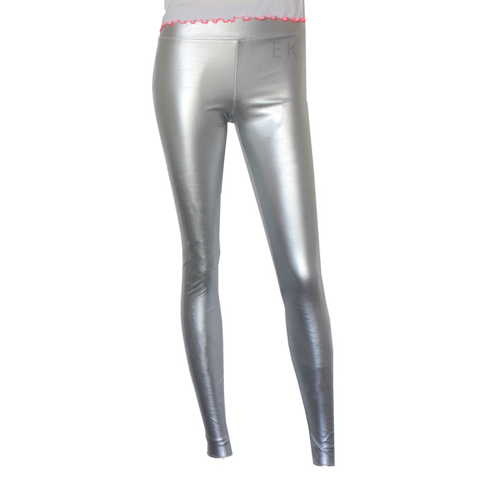Leather Leggings Silver Vegan Leather Tights Plus Size Pants Metallic Leather