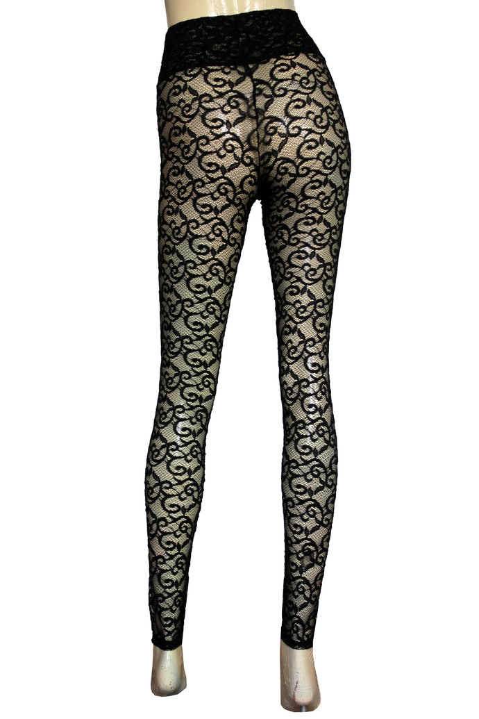 Lace Leggings Sheer Tights Red Plus size Lingerie High Rise Pants Rave Festival