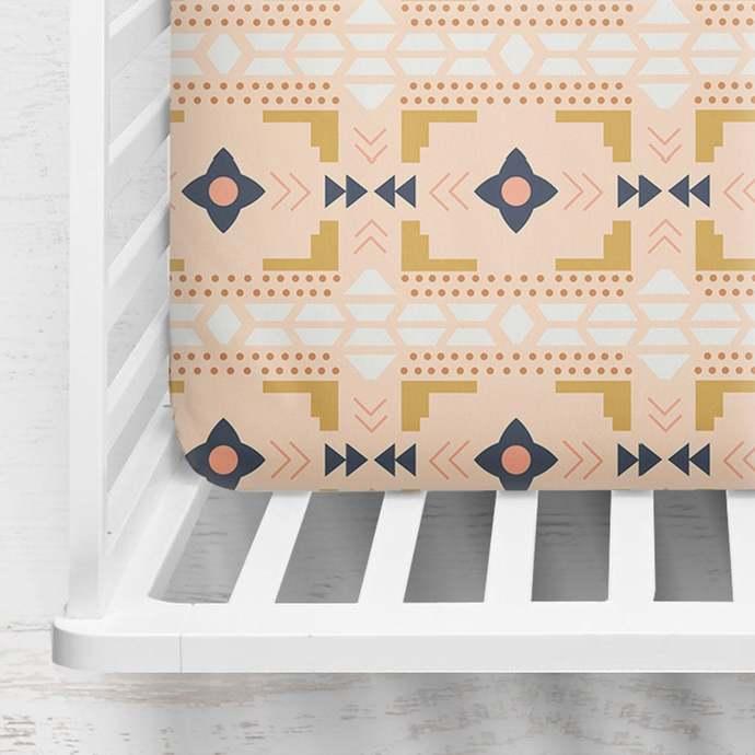 Desert Blanket Fitted Crib Sheet ~ Aztec Crib Sheet ~ Mustard Crib Sheet ~