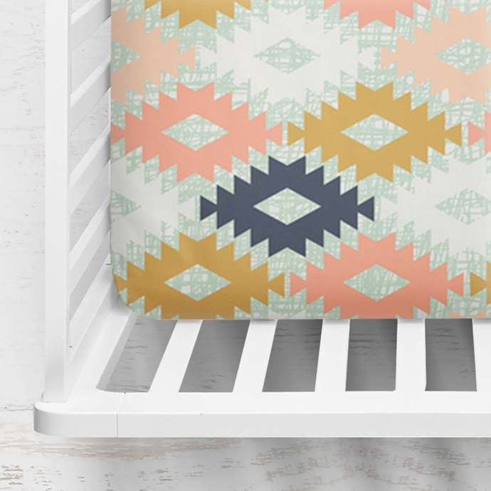 Agave Fitted Crib Sheet ~ Aztec Crib Sheet ~ Mustard Crib Sheet ~ Tribal Baby