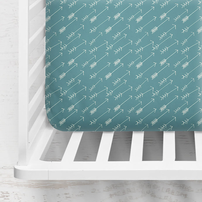 Adventure Springs Crib Sheet ~ Teal Fitted Crib Sheet ~ Baby Bedding ~ Blue Crib