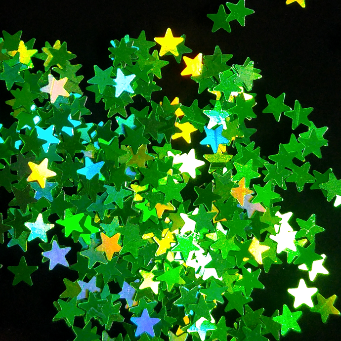 Starz Green - Holographic Star Shaped Loose Cosmetic & Craft Glitter