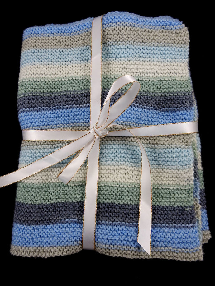 Hand Knitted Random Coloured Baby Blanket - FREE SHIPPING
