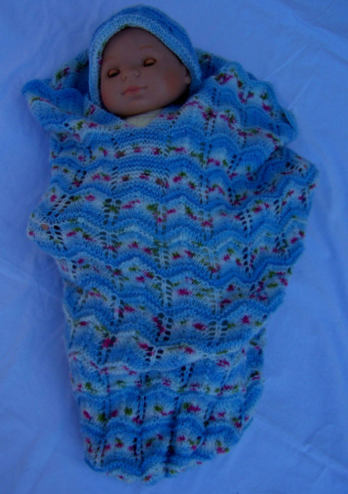 Hand Knitted Baby Papoose And Hat Set - FREE SHIPPING